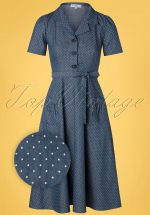 40s Revers Midi Dots Dress in Light Denim Blue