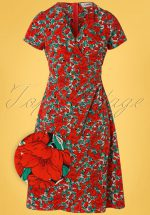 50s Erine Zinnia Midi Dress in Red