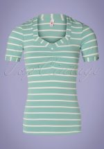 50s Logo Stripes T-Shirt in Minty Blue