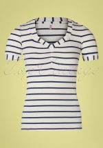 50s Logo Stripes T-Shirt in Ivory White and Navy