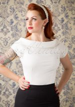 50s Cordelia Top in Ivory