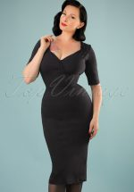 50s Trixie Pencil Dress in Black