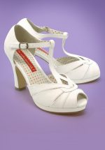30s Lacey Art Deco T-Strap Pumps in Ivory