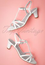 50s Patent Strappy Sandals in Ivory