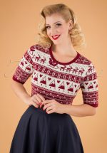 50s Holly Jumper in Red and White