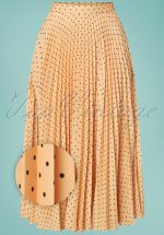 50s Aubrey Pleated Pin Dot Skirt in Apricot