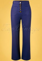 70s High Waisted Sturdy Pocket Pants in Dazzling Blue