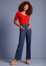 70s Garbo Cropped Braid Pants in Denim Blue