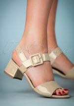 60s Dorothy Patent Block Heel Sandals in Cream