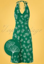 60s Be Bop Baby Ginko Leaves Dress in Green