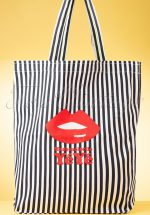 60s Take It All Striped Tote Bag in White and Blue