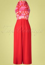 70s Divided Jumpsuit in Red and Pink