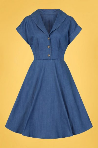 50s Freddie Swing Dress in Denim Blue