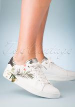 50s Penil Floral Sneakers in White