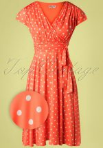 50s Caryl Polkadot Swing Dress in Orange