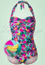 50s Chiquita Frock One Piece Swimsuit in Magenta
