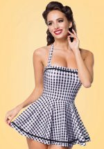 50s Gigi Gingham Swimdress in Black and White
