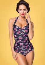50s Feline Floral Swimsuit in Dark Blue