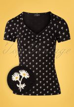 50s Marguerite Flowers Shirt in Black