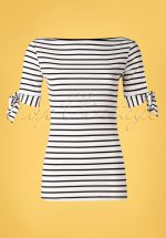 50s Bibi Striped Tie Top in Black and White