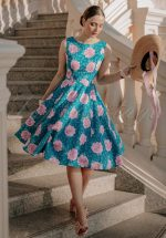 50s Adriana Floral Swing Dress in Teal Blue