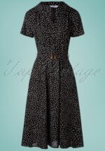 40s Spot Polkadot Swing Dress in Black