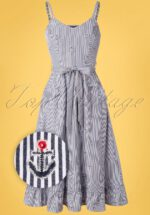 50s Andy Anchor Stripes Dress in Blue and White
