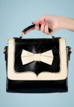 50s Chelsea White Bow Handbag in Black