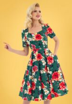 50s Pamela Floral Swing Dress in Green