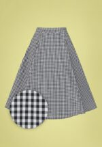 50s Gary Gingham Swing Skirt in Black and White