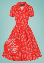 50s Ruby Rose Swing Dress in Red
