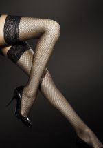 Liza Fishnet Hold Ups in Black